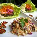 Lower Fat Veggie Burger with Raw Slaw